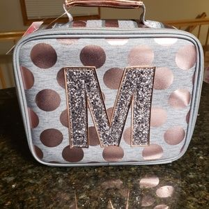 New Justice Rose Gold Initial M Lunchbox